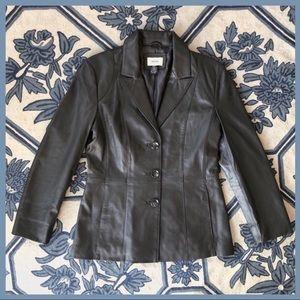 Neiman Marcus Leather Jacket Gunmetal Gray Blazer